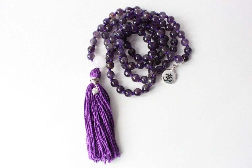 Amethyst & Rose Quartz Guru Bead, 108 6mm Bead Mala