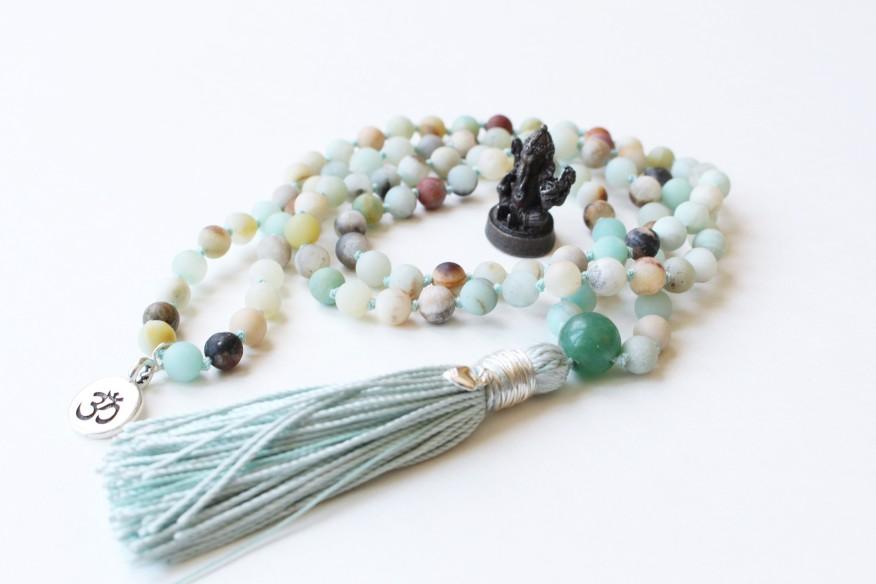 Matte Amazonite & Aventurine Guru Bead, 108 6mm Bead Mala