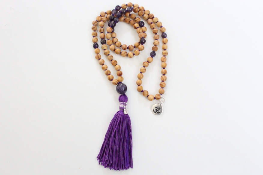 Charity Event Donation, Cedar Wood & Amethyst,108 6mm Bead Mala