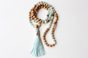 Matte Amazonite & Cedar Wood Mala, 108 6mm Beads