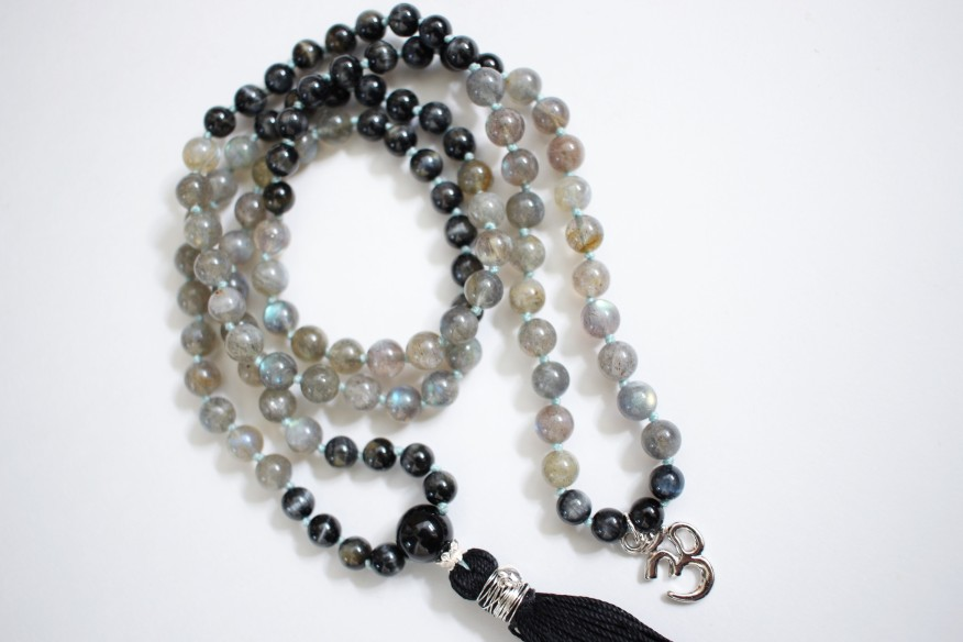 Closeup of Labradorite & Blue Tiger's Eye Mala