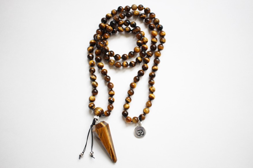 Tiger's Eye Mala, 6mm beads with 43mm Tiger's eye Pendant