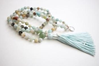 Matte Amazonite & Aventurine Guru Bead, 6mm Beads, Handmade Silk Tassel