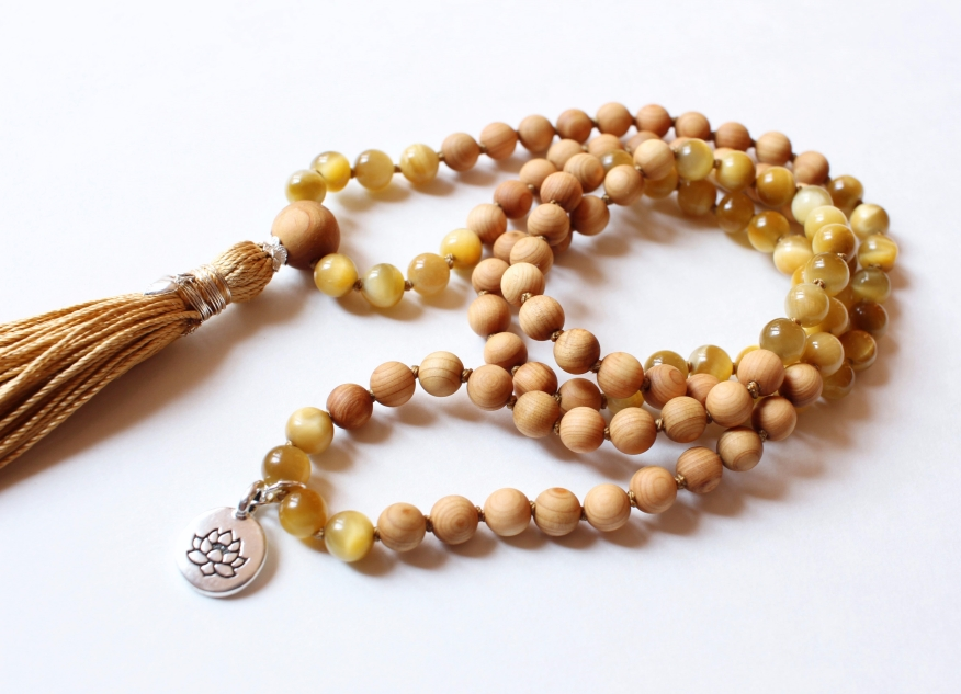 Golden Tiger's Eye & Cedarwood Mala, 6mm beads with 10mm Cedarwood Guru Bead